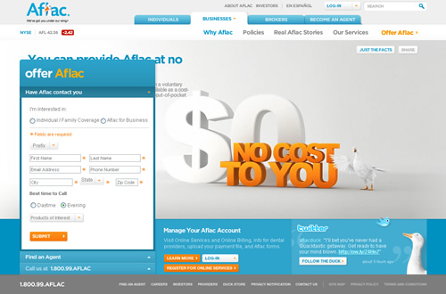 Aflac Quote Alluring Great B2C Corporate Website Example Aflac