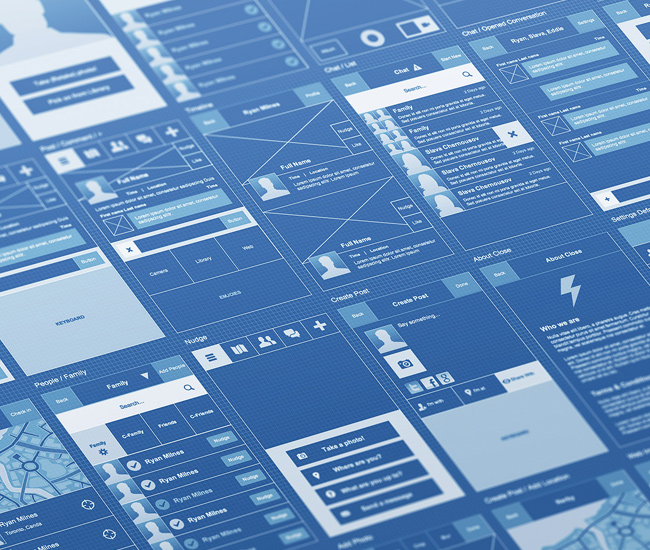 10 beautiful blueprint style wireframes via dribbble for Web design blueprints